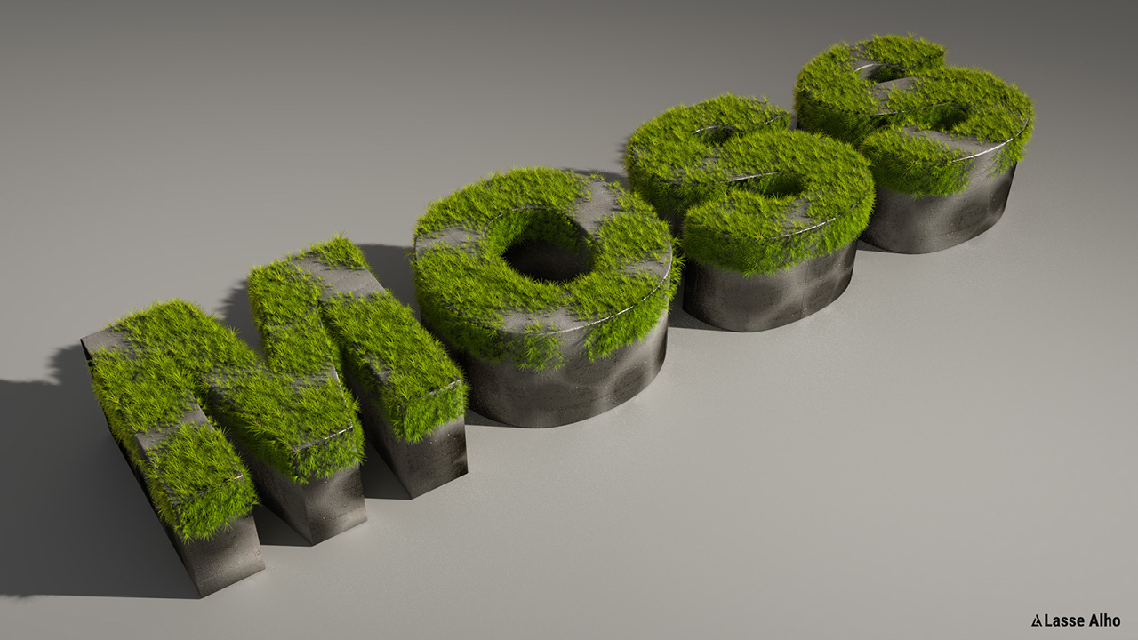Text with moss growing on it