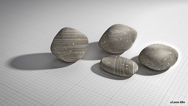 Pebbles textured with procedural noise